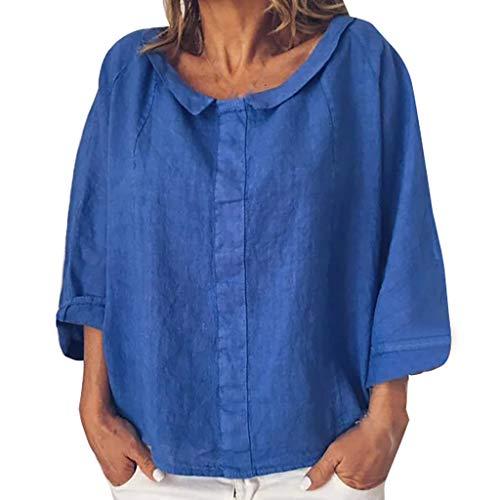 iYmitz 3/4-Arm Damen Streetwear Einfarbig Rundausschnitt Leinen Frauen Freizeit Bluse Sommer Freizeithemd(Blau,EU-48/CN-4XL)