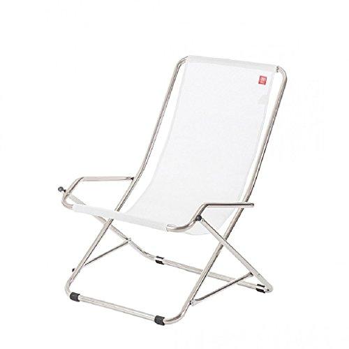 Chaise longue Dondolina Fiam châssis en acier couleur aluminium texfil couleur blanc