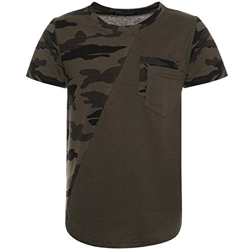 Coole Camouflage T-Shirt Kurz-Arm Shirts Kinder Druck Motiv Army Style 21835, Farbe:Grün, Größe:140 (Kurzer Arm Warmers)