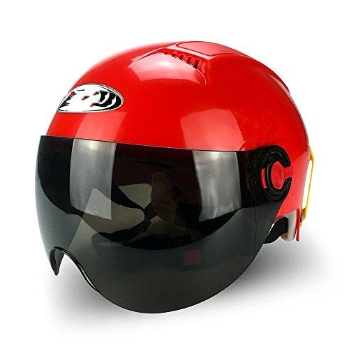 Liu Zhen Harley Helm Motorrad Elektrofahrzeug Schutz Halbhelm Anti-UV-Multi-Color-Helm,Red