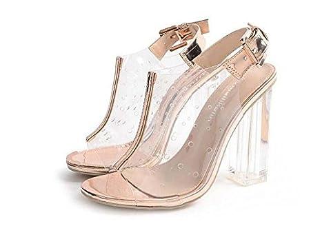 Cristal Transparent Des sandales Chunky Heels Slingbacks Dame Mode Open Toe Creux Trou respirant Transparent Ankel Strap Boucle de ceinture Chaussures habillées Eu Taille 35-40 , gold , 40