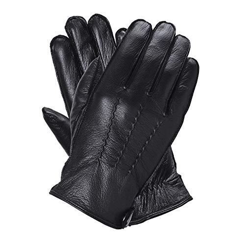 QGhappy Touchscreen Handschuhe herren Leder Lammfell Winter Warm lederhandschuhe (Korallenfleece) - Schwarz