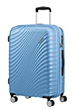 American Tourister Jetglam - Spinner M Extensible Valise, 67 cm, 77.5 L, Bleu (Metallic Powder Blue)