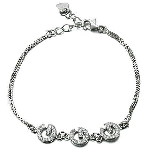 Epinki Femme Bracelet Argent 925 Alphabet Lettre G Zircone Cubique Charme Blanc