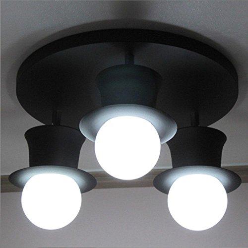 Modern / Design / Magic Hat / Deckenleuchte / Lovely / 3 Way / E27 / Dragonball Birne / Dekoration / Kronleuchter / Metall / Fixture / [Energieklasse A ++] , Schwarz (Skylight Tube)