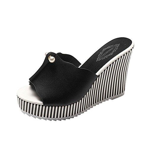 LUCKYCAT Sandales d'été Femme, Amazon Chaussures de Été Sandales à Talons Chaussures Plates Talon Haut Perle Rayures Pente Pantoufles 2018 (39EU/40CN, Noir)