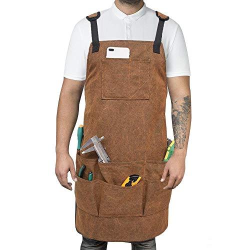Goglor Schürze aus gewachstem Segeltuch, verstellbare Werkzeugschürze mit Taschen, viele zusätzliche Taschen und geräumige Taschen. Wasserabweisend