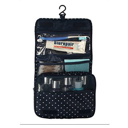 iTher Trousse da Toilette Viaggio Organizzatore Borsa per le donne Toilette Viaggi Custodia Wash Bag Cosmetic appesi viaggio Custodia impermeabile con Multi-compartimenti( Reticolo di Puntino)