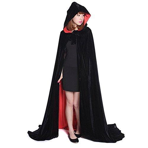 L-Peach Capa Negro y Rojo Doble Cara Encapuchada Disfraz de Gótico Diablo Demonio Pirata Vampiro para Fiesta Halloween Navidad Hombre o Mujer