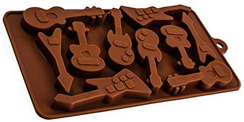BlueFox Silikonform mit 10 Gitarren, Deko Form, Geschenk, Schokolade, Eiswürfel, Praline, Back-Form, Praline, Bass, Metal, elektrische-Klampfe, Ukulele, Farbe: Braun