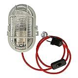 Bulkhead Kellerlampe Oval mit 3 Meter Textilkabel Schalter und Stecker für E27 Led Leuchtmittel im Retro Design inkl fitting Max 60 Watt IP44 (rot, Gehäuse grau)