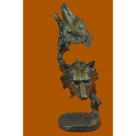 Escultura bronce estatua...Envío gratis...Los lobos originales Kanaev Dual Lobo cabeza de mármol del busto(DW-102-UK)Estatuas estatuilla estatuillas desnuda Oficina y Decoración del hogar Coleccionabl
