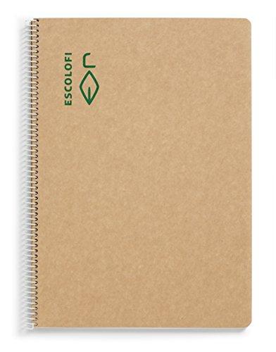 Escolofi 130047000 - Cuaderno con espiral de papel reciclado ecológico, A4
