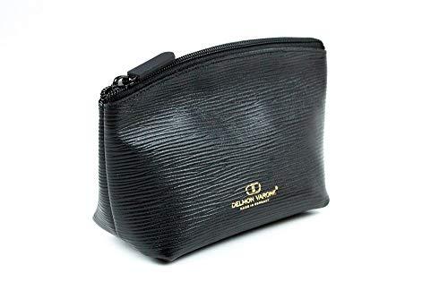 Kosmetiktasche klein (20x12x6) Premium Leder Manhattan schwarz mit Paglia Narbung -