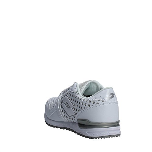 Lotto Sport Record IX Lth W, Sneakers Basses Femme Blanc/Argent