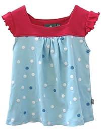 Little Green Radicals organic Fairtrade cotton, Polka Dot Sleeveless Sundress (Crystal Blue, 4-5 Years)
