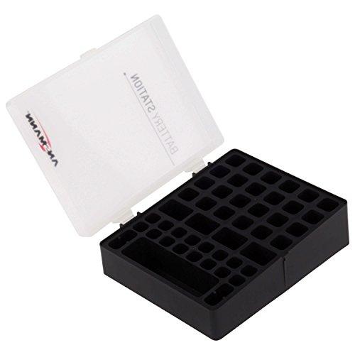 ANSMANN Batteriebox für AAA Micro, AA Mignon & 9V Block Akkus und Batterien - Praktische Akkubox zum Schutz & Transport für 48 Accus - Batterie Box & Akku Box zur Aufbewahrung - Schwarze Wand-box