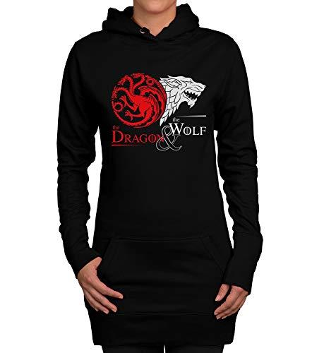 Shirtdepartment - Damen Long Hoodie - GoT - Dragon & Wolf schwarz-Weiss ()