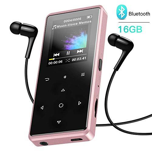 MP3 Player, AGPTEK 16GB HiFi Bluetooth 4.0 MP3 Player mit Kopfhörer, 1.8 ZollBildschirm Kinder MP3 Player mit Bluetooth und FM Radio Taste, bis 128G SD Karte, Rosegold (Mp3-player-tasten)