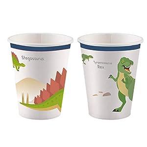 amscan 9903971 Happy Dinosaurier - Juego de 8 Vasos de Papel (250 ml)