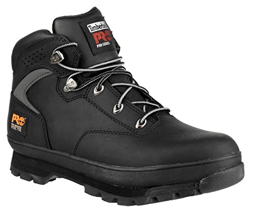 Timberland Mens Euro Hiker Black Lace Up Leather Safety Ankle Boot Black