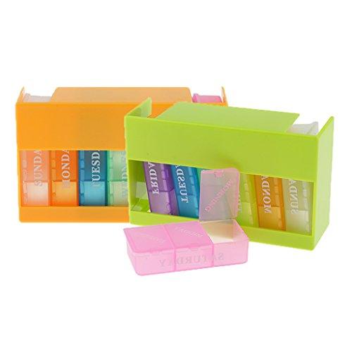 Sharplace 2er-Pack 7 Tage Tablettenbox 3 Fächer/Tag Pillen Tabletten Box Tablettendose Pillendose Pillenbox -