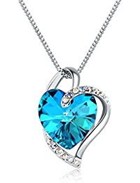 Love N Legacy 18K White Gold Plated Swarovski Crystal Necklace Titanic Blue For Women/Boys