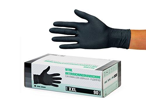 Nitrilhandschuhe 90 Stück Box (XXL, Schwarz) Einweghandschuhe, Einmalhandschuhe, Untersuchungshandschuhe, Nitril Handschuhe, puderfrei, ohne Latex, unsteril, latexfrei, disposible gloves, black, XX La