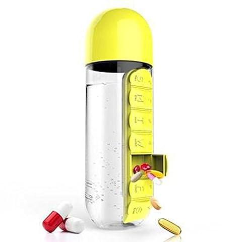 Beauté Top 600ml Sport Bouteille d'eau avec Intégré Daily 7Daily Pill Box Vitamine Organiseur, jaune
