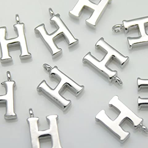 2 pieces of Glossy Shiny Silver Initial Alphabet 'H' Pendants Charms Connectors links Metal beads Silver original rhodium plated over brass for earrings necklace bracelets etc. Jewelry Making Supplies - annielov #annielov in-1-sv-h