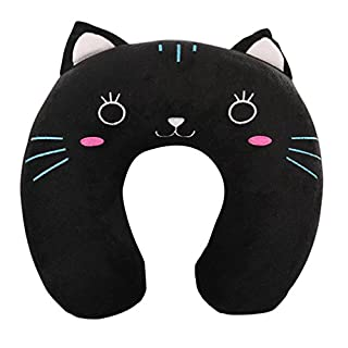 Nunubee Memory Foam Cute Animal Cotton Comfort Travel U-Shape Neck Support Pillow Soft and Comfy Neck Travel Pillow With Removable Cover (Kitty)