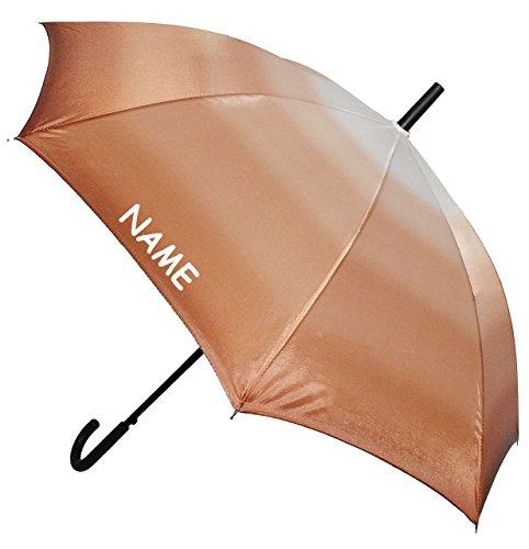 Unbekannt großer XL Regenschirm - Automatik -  einfarbig braun - Töne / Batik - Regenbogen  - ø 110 cm - incl. Name - Schirm - Stockschirm für - Damen - Frauen & Herr..