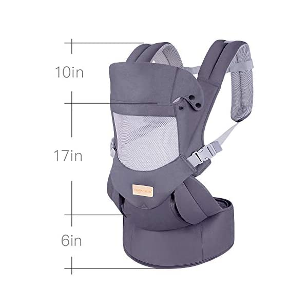 Infant Toddler Baby Carrier Wrap Backpack Front and Back, Hip Seat & Hood, Soft & Breathable Cotton, Cool Air Mesh, Grey tiancaiyiding ❤ Ergonomic Design: Wide and thick backpack straps help relieve stress . Easy to put on or take off. ❤ M shape Position: Stop hurting your baby's legs. Keep blood circulation in normality. ❤ All-round Support: Simple and thus strong structure. 360° wraps the baby against falling out. Collapsible hood for wind and sun protection 7
