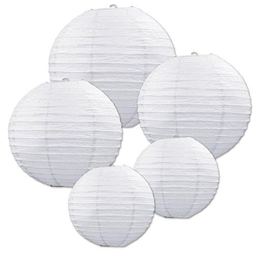 �cke weiße Papier Laterne Lampion rund Lampenschirm Papierlampen Hochtzeit Party Dekoration Ballform 12