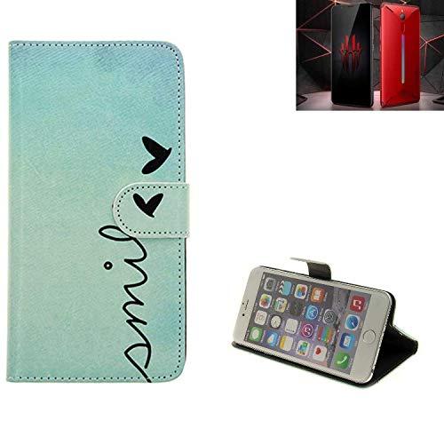 K-S-Trade® Für Nubia Red Magic Mars Hülle Wallet Case Schutzhülle Flip Cover Tasche Bookstyle Etui Handyhülle ''Smile'' Türkis Standfunktion Kameraschutz (1Stk)