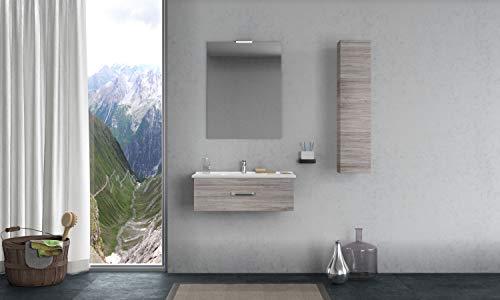 Kommode Runde Spiegel (MOBILIA Hängeregal mit Waschbecken, Kommode, Spiegel, Leuchte und Standfuß, rund)
