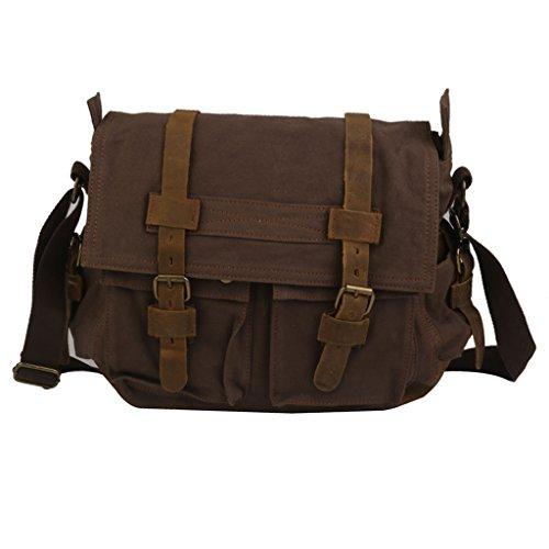 Unisex Scuola Cartella Di Cuoio Tela Spalla Militare Messenger Bag Cachi Coffee
