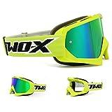 TWO-X Race Crossbrille neon gelb Glas verspiegelt grün MX Brille Motocross Enduro Spiegelglas Motorradbrille Anti Scratch MX Schutzbrille
