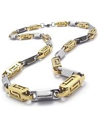 KONOV Schmuck Herren-Kette, Edelstahl Zweifarbig Biker Königskette Halskette, Gold Silber, Breite 7mm, Länge 55cm