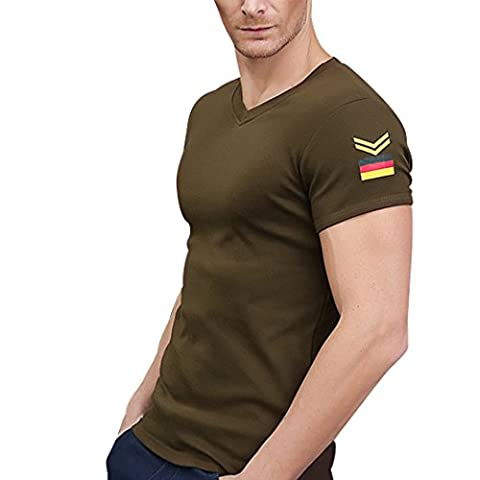 WALK-LEADER - T-shirt de sport - À logo - Col V - Manches Courtes - Homme - vert - Large