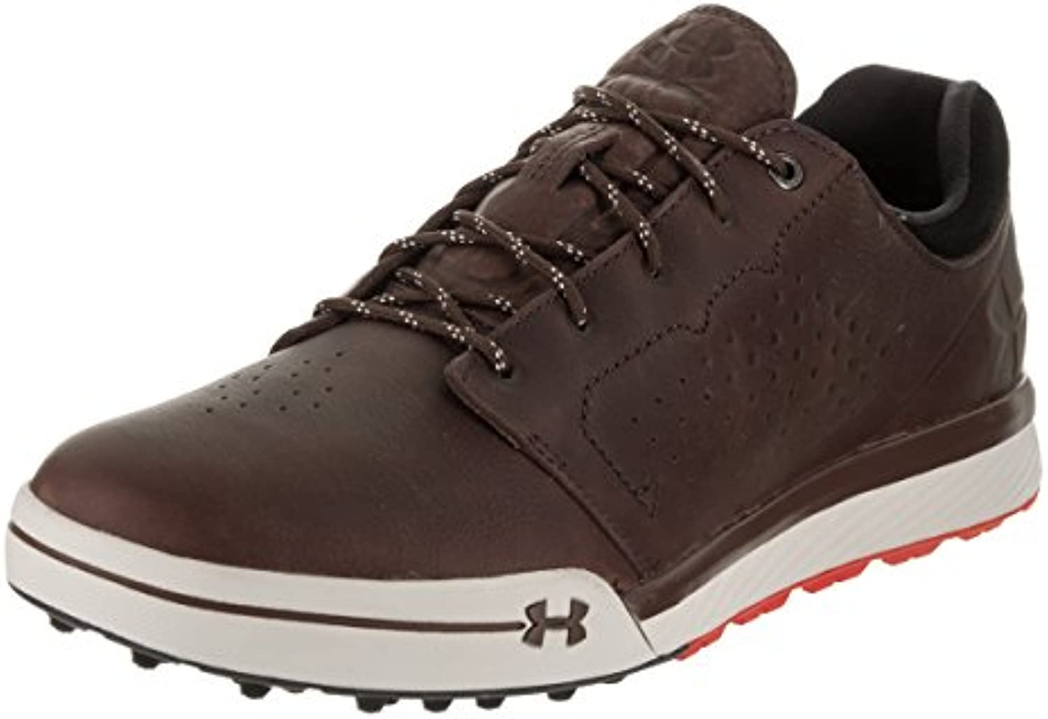Under Armour 2017 UA Tempo Hybrid Water Resistant Mens Spikeless Golf Shoes   Leather Cleveland Brown 9UK