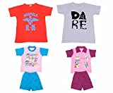 Indistar Boys Round Neck Cotton T-shirt And Pure Cotton Baba Suit ( (Pack of 2 T-shirt And Pack of 2 BaBa Suit )-(Assorted Color/Print )-Multicolor-1- Amazon