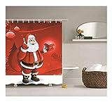 Bishilin Polyester-Stoff 3D Duschvorhang Vintage Weihnachtsmann mit Geschenk 3D Lustiger Duschvorhang Vintage 180x180