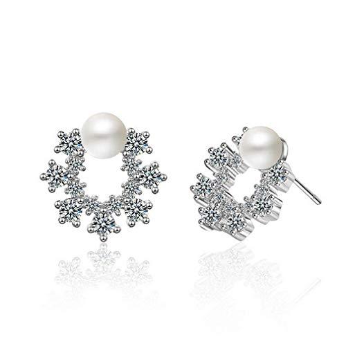Wiftly Damen Ohrringe 925 Sterling Silber mit Zirkonia Edel Perle Munde Klein Studs Ohrstecker für Mädchen Weihnachtsgeschenk