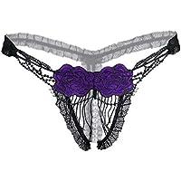 Calzoncillos Ropa Interior Erótica Tangas Braguitas para Pantalón Masaje Abierto Perla Flor Bordado Transparente Hueco ZHANGQIANG (Color : Purple, Tamaño : One Size)