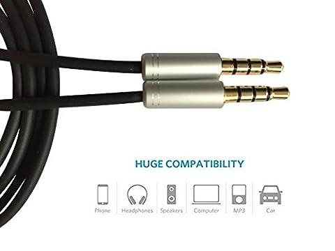 Câble audio AUX 3,5mm pour câble audio auxiliaire (1,5m) Câble auxiliaire pour casque Beats, iPods, iPhones, iPads, maison/voiture stéréo et plus. Plaqué or 3,5mm mâle vers mâle, 1,5m, noir