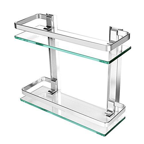 Homeself Dusche Caddy Bad Korb Ablage, Dick gehärtetem Glas Aluminium Wand montiert Badezimmer Regal Rack Küche Aufbewahrung Regal, Glas, 2-Tier -