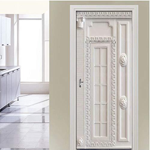 BHVGHVH Neue Europäische Stereo Grenze Muster Tür Aufkleber Wandbild PVC Selbstklebende Tapete Poster Wohnzimmer Schlafzimmer Tür Decor Decals 77X200 cm -