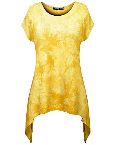 Moollyfox Casuel Imprimé Femmes Hem Irrégulière T-Shirt Jaune