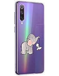 Oihxse Animal Serie Case Compatible con Samsung Galaxy A5 2018/A8 2018 Funda Transparente Suave Silicona Elefante Conejo Patrón Protector Carcasa Ultra-Delgado Creativa Anti-Choque Cover (A4)